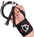 Crossfit Jump Rope and Wrist Wrap Combo for Men and Women. Best for Weightlifting, MMA and Boxing. Workout Package for Gym or Home Exercise