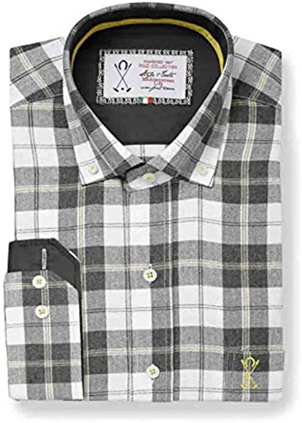 Camisa Manga Larga viyella, con Estampado de Cuadros de Color Blanco y marrón - 4_L, Chocolate: Amazon.es: Ropa y accesorios