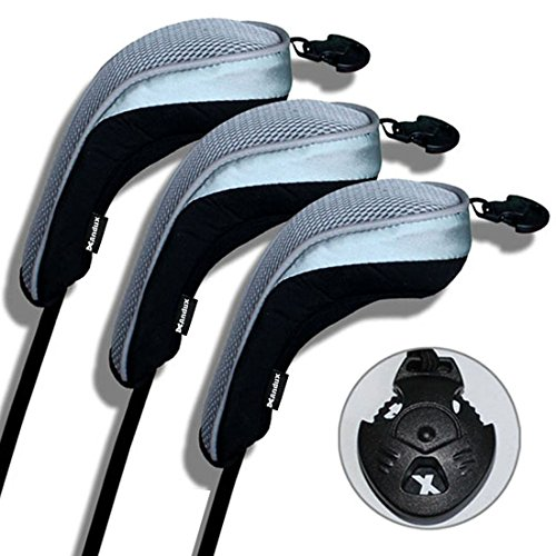Andux 3 Pack Golf Hybrid Club Head Covers Interchangeable No. Tag MT/hy03 Black & ()
