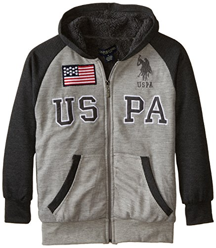 U.S. Polo Assn. Boys' Big Sherpa Lined Thermal Hoodie, Light Heather Gray, ()