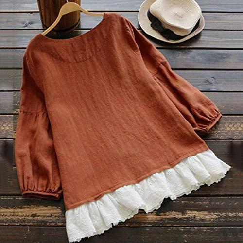 T Tops Femme Patchwork Manches T Dentelle Chic Casual Bringbring Long Shirt Shirt Longues Caf Blouse Dames qzqr1P