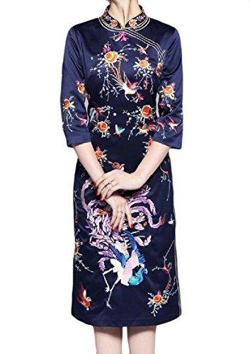 Coolred-femmes Classiques Mi Longues Brodé Robe Fendue Bleu Marine Cheongsam