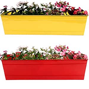 TrustBasket Set of 2- Rectangular Railing Planter -Yellow and Red (23 Inch)