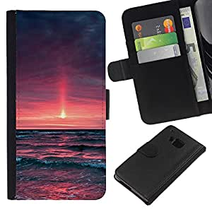 All Phone Most Case / Oferta Especial Cáscara Funda de cuero Monedero Cubierta de proteccion Caso / Wallet Case for HTC One M7 // Purple Sunset Glow