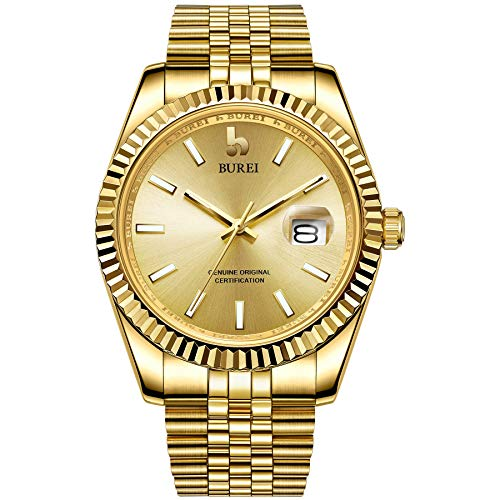 BUREI Mens Luxury Automatic Watches Full Gold Dial Analog Calendar Window Display Sapphire Crystal Glass with Stainless Steel Case and Band ()