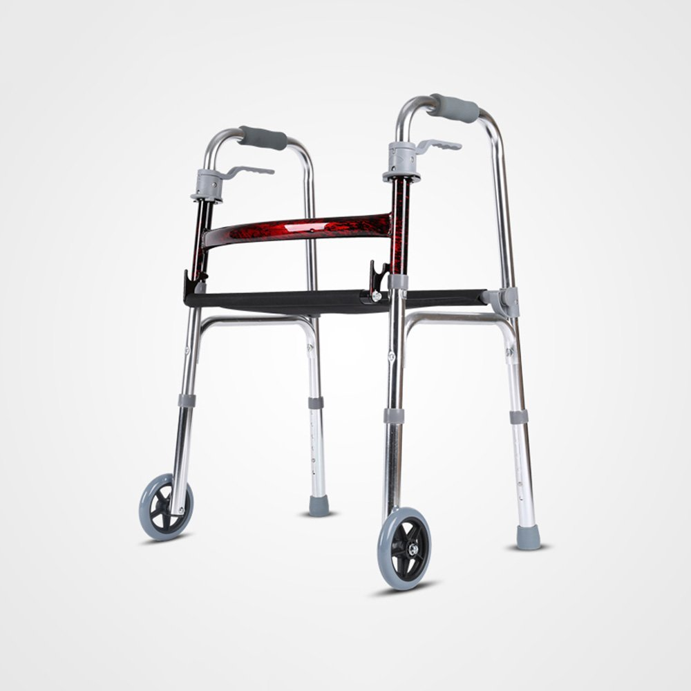 QFFL クルーザー車椅子シートウォーカーアルミニウム厚い高齢者ウォーカー折りたたみ式4フィートトローリー3色使用可能 松葉杖ウォーカー ( 色 : C ) B07B49N6RL C C