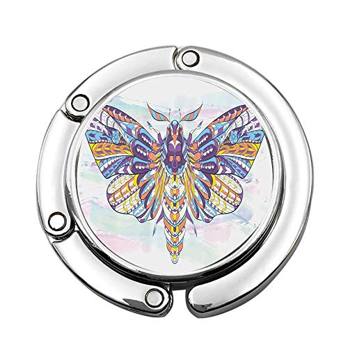 (MichelleSmithred Grunge Paint Smear Background with Colorful Hawk Moth with Ornamental Motifs Tattoo Custom Print Handbag Hanger Foldable Table Purse Hook Caddy Holder)