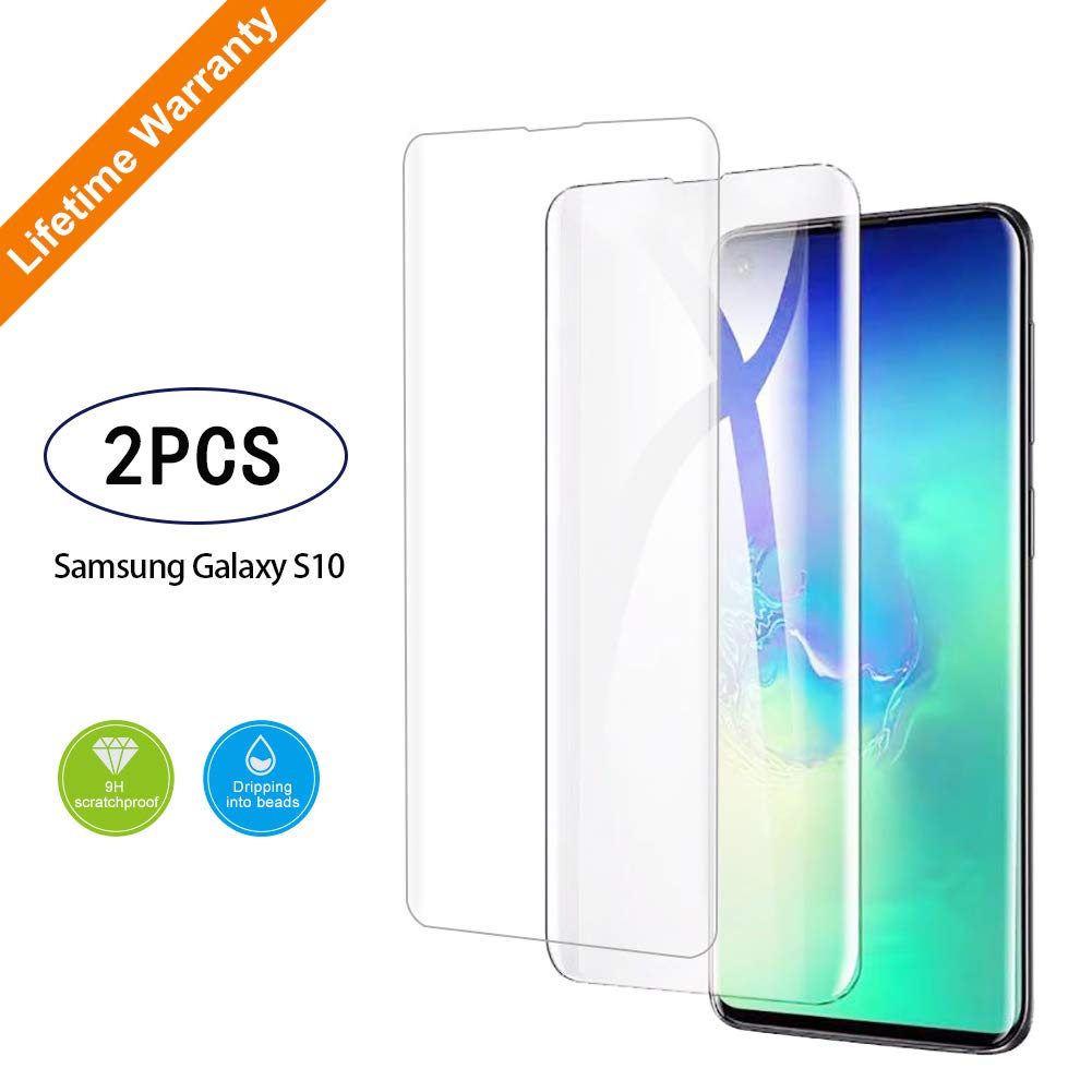 Tempered Glass Screen Protector for Samsung Galaxy S10, 3D Curved Tempered Glass, Finger Print Compatibles, HD Clear , Easy Installation.(2 Packs) by IPHUNGO