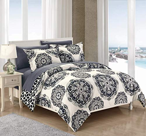 Black White Paisley Duvet Cover - Chic Home DS4033-WT 3 Piece Ibiza Super Soft Microfiber Large Medallion Reversible with Geometric Printed Backing King Duvet Cover Set Black