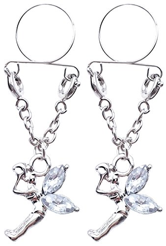 21secret Sexy Adjustable Non Pierced Cilp on Long Silver Plated Dangle Chain Clear Crystal Set Fairy 2Pcs Fake Nipple Rings