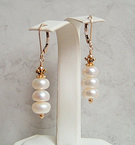 White Rondelle Button Simulated Pearl Leverback Earrings Gold ()