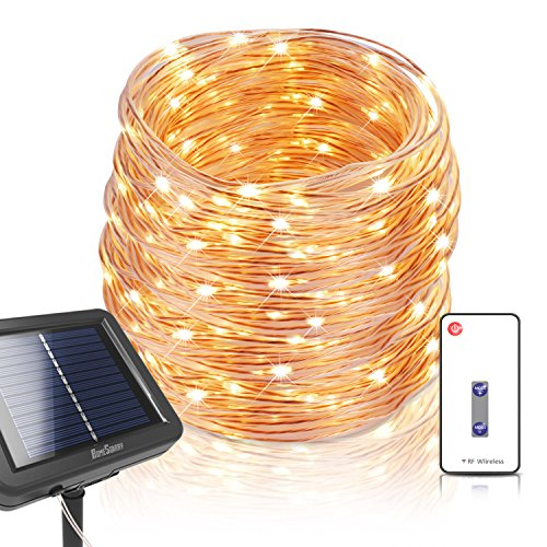 Homestarry Solar Fairy Lights with Remote, IP67 Waterproof Outdoor Solar String Lights, 200 LEDs 72ft 3-Strand Copper Wire Warm White Firefly Solar Lights, Weatherproof String Lights for Patio Garden