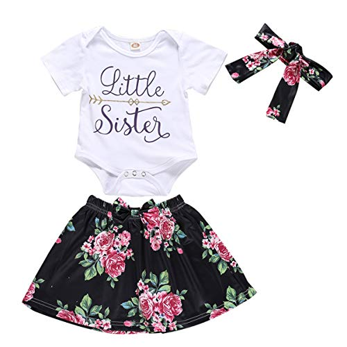 (Infant Baby Girl Big &Little Sister Bodysuit Tops Bowknot Flower Skirts Dress Set (Little Sister, 18-24 Months))