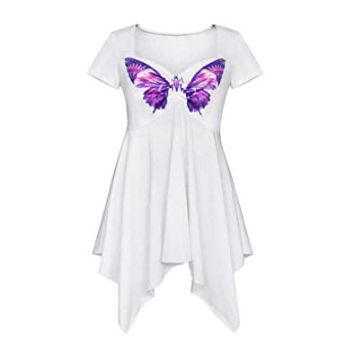 efc33ccd0c214 TATGB Women Casual Short Sleeve Butterfly Print Irregualr Blouse T Shirt  Tops at Amazon Women s Clothing store