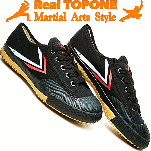T.O.P ONE Kung Fu Martial Arts Parkour Shoes,Rubber Sole Sneakers-Black 40(Men 8|Women 9.5)