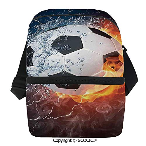 SCOCICI Collapsible Cooler Bag Soccer Ball on Fire and Water Flame Splashing Thunder Lightning Abstract Insulated Soft Lunch Leakproof Cooler Bag for Camping,Picnic,BBQ -