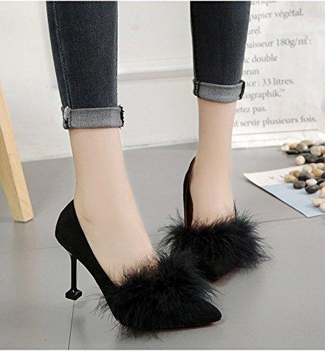 Tacón Shoes Chica Punta Alto 9CM Zapatos Cm Ligeras 5 8 Y Mujeres para Solo Negro Delgadas Zapatos De De Alto El GAOLIM Heel qcETIq