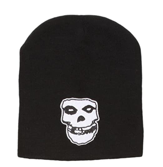 eecb0ee5401 Image Unavailable. Image not available for. Color  Misfits Skull Logo Black  Cuffless Beanie