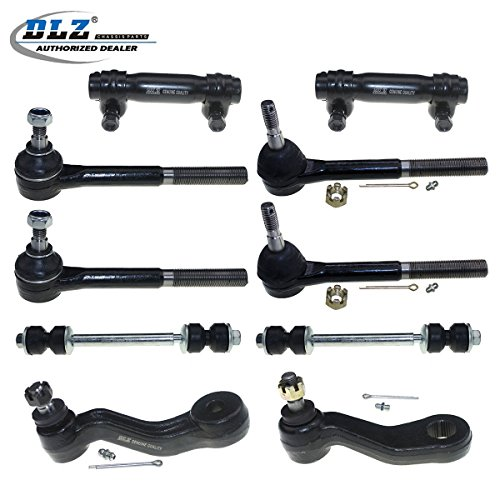 DLZ 10 Pcs Front Suspension Kit-2 Outer 2 Inner Tie Rod End 2 Tie Rod End Adjusting Sleeve 2 Sway Bar Link 1 Pitman Arm 1 Idler Arm Compatible with Chevrolet GMC K1500 K2500 K3500 Yukon Tahoe Cadillac (Two Tie Rod Ends)