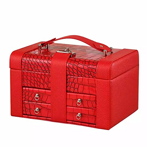 [EYX Formula PU Leather Jewelry Box Organize Case with Mirror,Portable Lockable Makeup Case Travel Case Wedding Gift for Storing Ring] (Victorias Secret Costume Ideas)