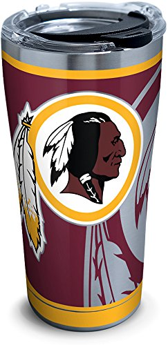 Tervis 1299960 Washington Redskins Rush Stainless Steel Tumbler with Lid, 20 oz, Silver