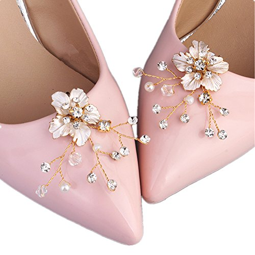 Casualfashion 1 Pair Bridal Wedding Crystal Beads Flower Shoe Clips Rhinestone Shoe Buckles Accessories for ()