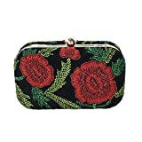 From St Xavier Sangria Rose Beaded Box Clutch, Black/Red