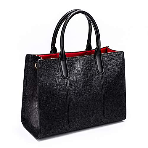 Style Bag women Genuine bag Tote Handbag shoulder Bag Work Fashion Satchel Urban Black Womens for bags handle Top Leather xISZOqzz