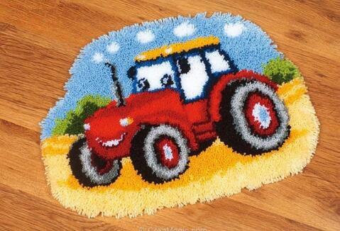 Sunny DIY Crochet Yarn Kits, 18.89X14.56, Needlework Kit DIY Crocheting Rug Yarn Cushion Embroidery Set , Tractor 18.89X14.56