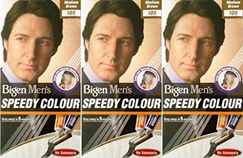 Bigen Men's Speedy Hair Colour 105 Medium Brown X 6 Packs by Bigen