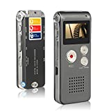 Btopllc Digital Voice Recorder 8GB MP3 Player Mini USB Port, Audio Voice Recorder Rechargeable MP3 Player Support A-B Repeat, Voice Recorder Lecture /Conversations / Meetings / Interviews - Grey