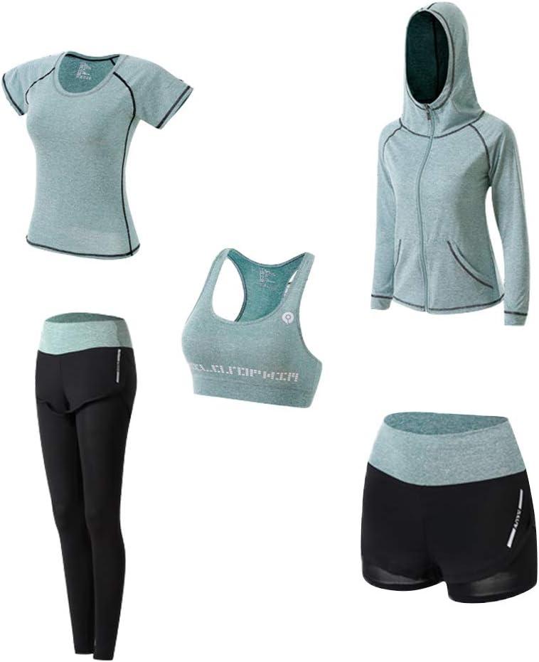 Ropa Deportiva Mujer, 5set Traje Camiseta para Deporte Yoga Gimnasia Sports Incluye Manga Larga y Corta, Pantalón, Sujetador, Suave Transpirable Cómodo