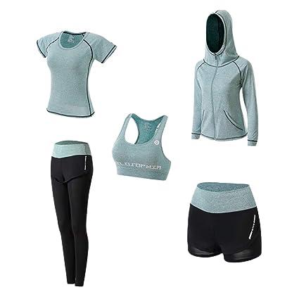Ropa Deportiva Mujer, 5set Traje Camiseta para Deporte Yoga Gimnasia Sports Incluye Manga Larga y Corta, Pantalón, Sujetador, Suave Transpirable ...
