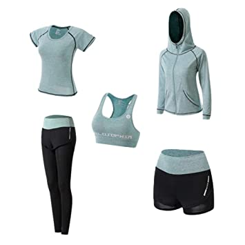Ropa Deportiva Mujer, 5set Traje Camiseta para Deporte Yoga ...