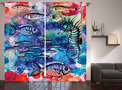 Batik Painting - Ambesonne Fish Seahorse Coastal Decor Collection, Sea Creatures Watercolor Painting Effect Batik Print, Window Treatments, Living Girls Room Curtain 2 Panels Set, 108 X 84 Inches, Navy Magenta Pink