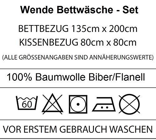 Familando Wende-Bettw/äsche Die Eisk/önigin 100/% Baumwolle 135 x 200 cm 80 x 80 cm Frozen Wish Kinderbettw/äsche