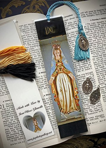 God Laminated - The Blessed Mother Virgin Mary Statue at Sacre Coeur, Montmartre Paris, France Europe Fine Art Photography Photo Laminated Handmade Catholic Bookmark w/Holy Mary Mother of God Medal