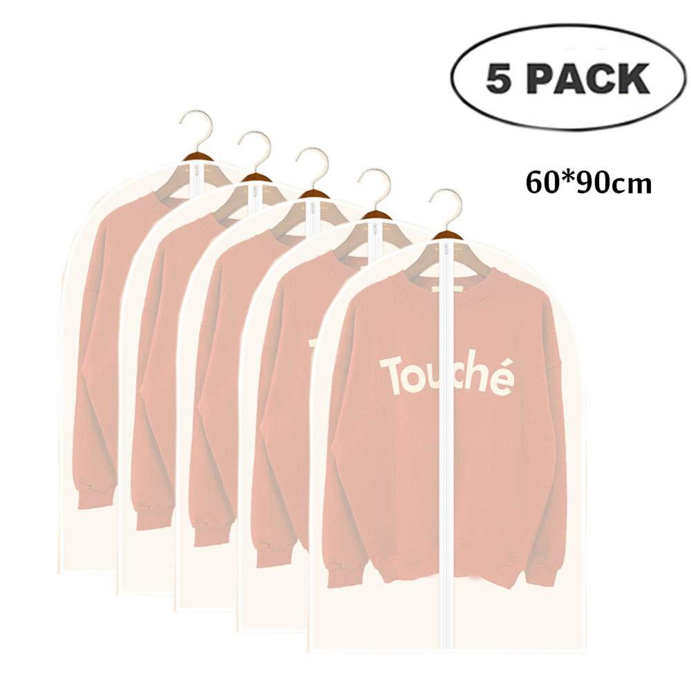 Full Zipper Translucent PEVA Clothing Dust Cover Yayabb Family Clear Breathable Garment Bag 60x90cm, Coat