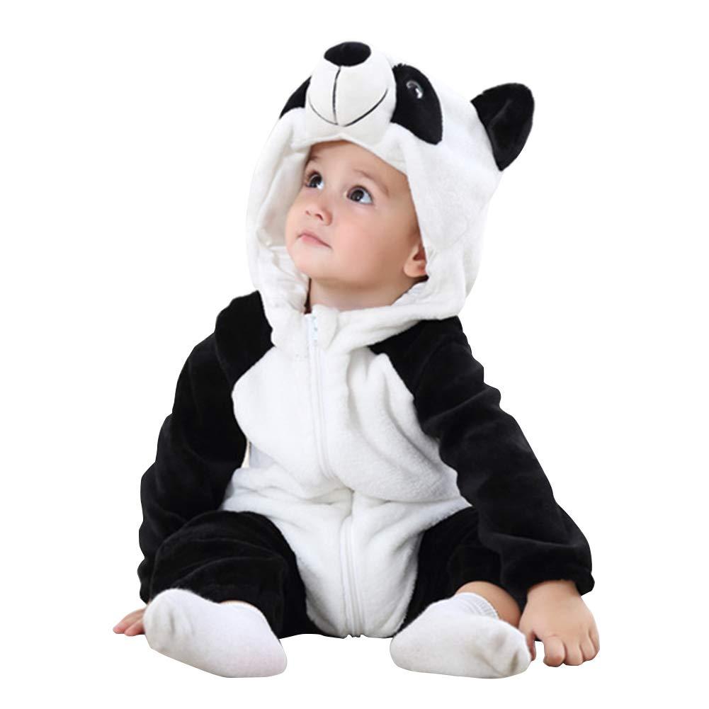 Panda, 90CM ele ELEOPTION Baby Romper Long Sleeve for Boy Girl Winter Autumn Flannel Jumpsuit Animal Cosplay Outfits Bodysuit 1 Piece 13-18 Months