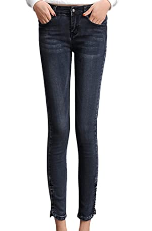 Chickle Women's Cotton Midrise Pencil Curvy Skinny Ankle Jeans US 2 Blue