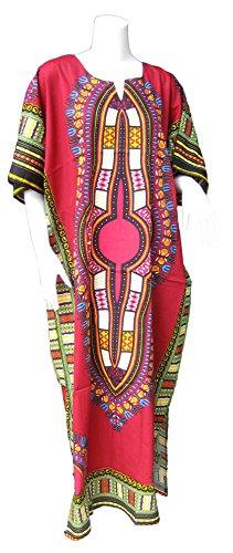 RaanPahMuang Brand Full One Piece Long Afrikan Color Dashiki Sac Dress, Small, Blood