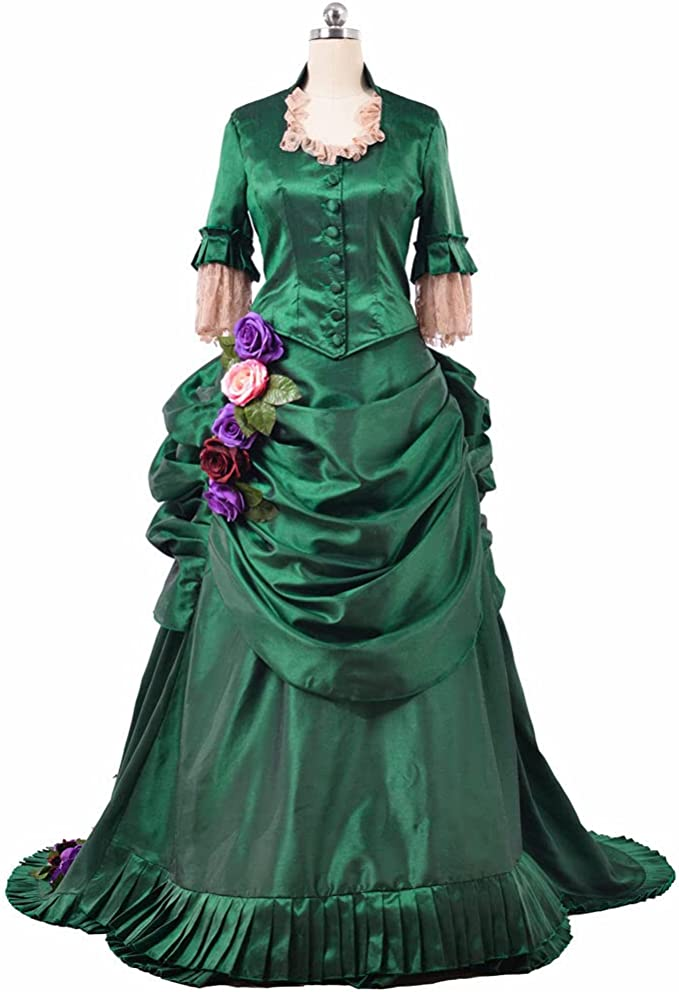 Victorian Dresses | Victorian Ballgowns | Victorian Clothing 1791s lady Womens Medieval Renaissance Costume Roses Decorated Vintage Dress  AT vintagedancer.com