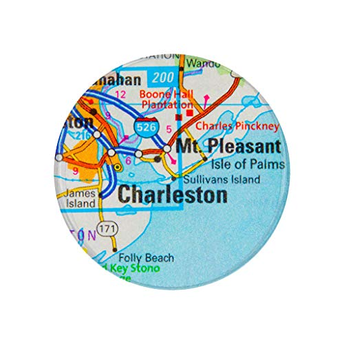 Charleston, SC, City Map Photo Print,2.25 Inch Pocket Mirror, Refrigerator Magnet or Pinback -
