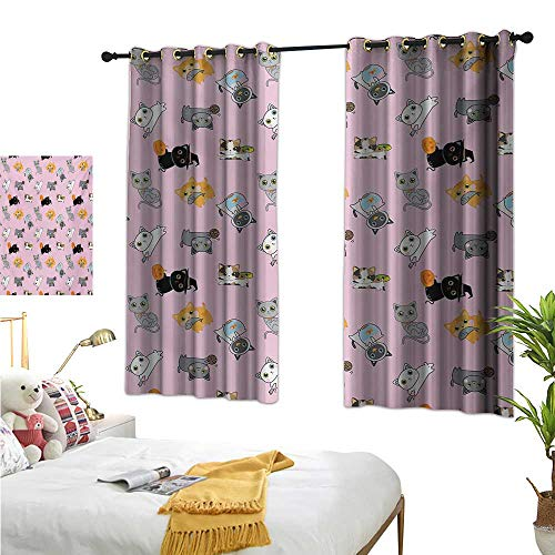 MartinDecor Cat Thermal Insulating Blackout Curtain Colorful Cute Kittens Playing with Fish Mice and Yarnball Different Breeds of Feline W55 x L45,Suitable for Bedroom Living Room Study, etc.]()