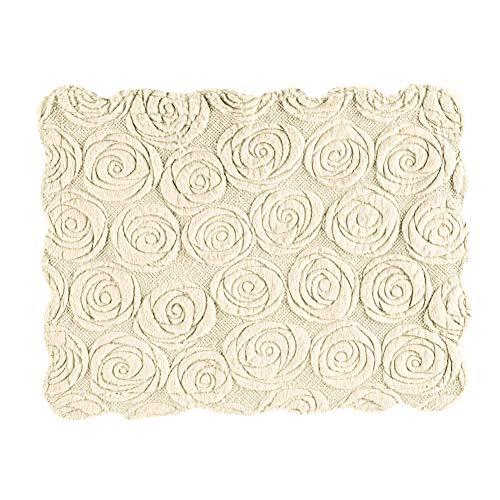 - Collections Etc Elegant Faux Fur Rose Pillow Sham - Plush Raised Floral Design, Ivory, Sham