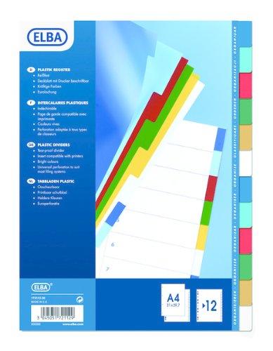 ELBA 100205067 Separatori di polipropilene, A4, 12 posizioni, multicolore, 1 unità Hamelin Brands 785315