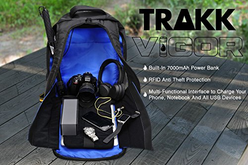 TRAKK Vigor New Model Durable Power Bank USB Enabled RFID Anti Theft Waterproof Universal Backpack, Large Padded Compartments, Business or Leisure, Stay Energized, 7000 mAh by TRAKK (Image #4)