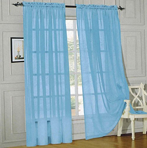 Onestopshop's Light Blue Voile Sheer Panel Drape Curtain for Your Window Fully Stitched and Hemmed 55×84″