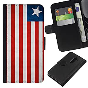 BearCase / Cuero de la tarjeta la carpeta del tirón Smartphone Slots Protección Holder /// LG G2 D800 /// Nacional bandera de la nación País Liberia