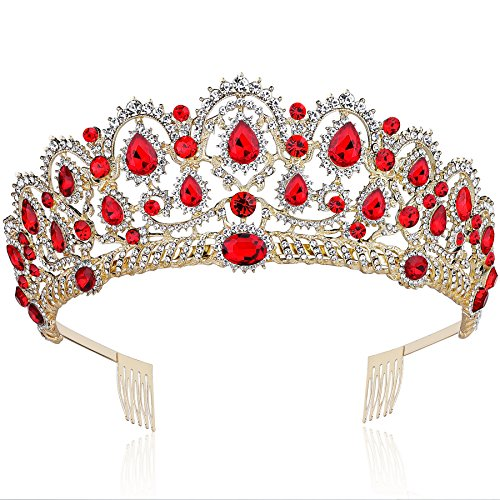 BABEYOND Vintage Crystal Queen Crown Prom Pageant Quinceanera Crown Tiara Rhinestone Wedding Princess Tiara Headband with Comb Pin (Red)